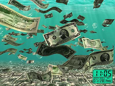 falling 3d money screen saver with dollar and euro money