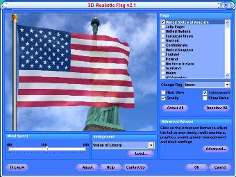 3d american flag on a staff flying in breeze in 3d realistic flag