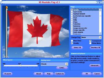Canada Screensaver - Flying Canadian Flag Screensaver Free Download