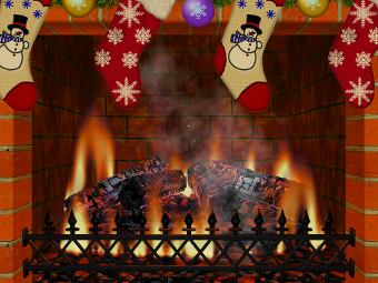 Perfect Free Christmas Fireplace Background 3D Christmas Fireplace Screen Saver