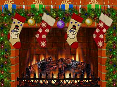 Christmas Decorated Fireplace Screen shot