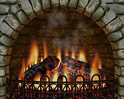 3D Realistic Fireplace Screen Saver Screen shot