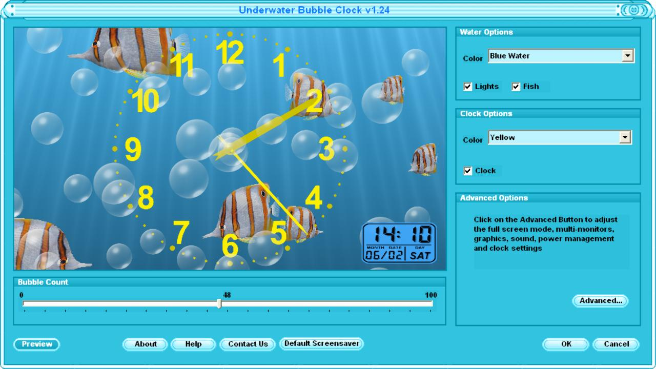 underwater clock screen saver and bubbles screen saver for windows 7