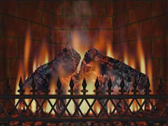 Virtual Burning Fireplace DVD Screensaver For TV